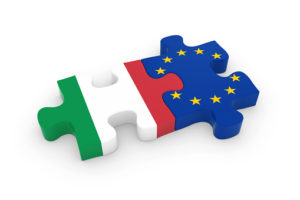 Italy and EU Puzzle Pieces - Italian and European Flag